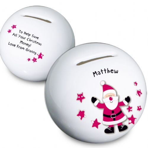 Personalised Spotty Santa Moneybox